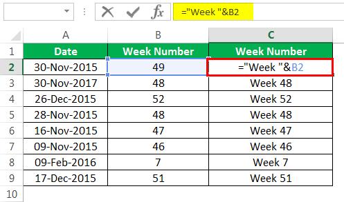 WEEKNUM Пример 2-4