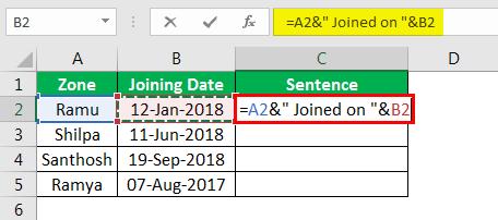 Объединение строк в Excel, пример 4.4