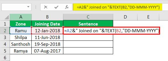 Объединение строк в Excel, пример 4.7