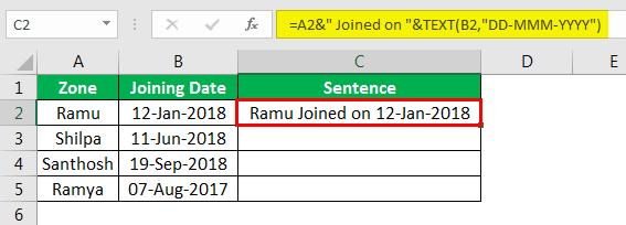 Объединение строк в Excel, пример 4.8