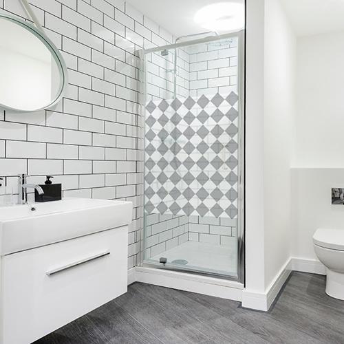 stickers autocollants pour douche grand damier en diagonale