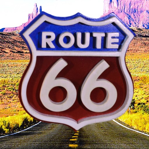 Route 66 sign made of wood and painted red white and blue