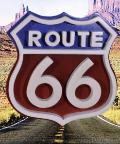 American Route 66 sign made of wood and painted red white and blue