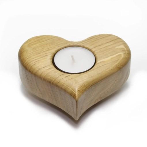 Grand porte-bougies à thé en chêne massif en forme de coeur - Cadeau Saint-Valentin