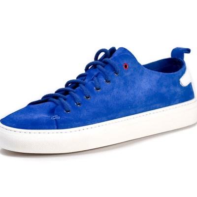 Sneaker uomo piuma camoscio bluette