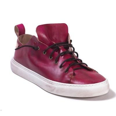 Sneaker uomo piuma pelle rosso