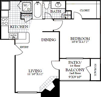 1 Bed / 1 Bath / 616 sq ft / Deposit: from $100 / Rent: $885