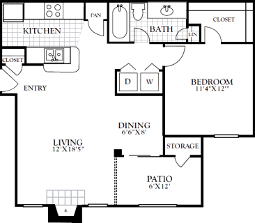 1 Bed / 1 Bath / 748 sq ft / Deposit: from $100 / Rent: $885 to $920
