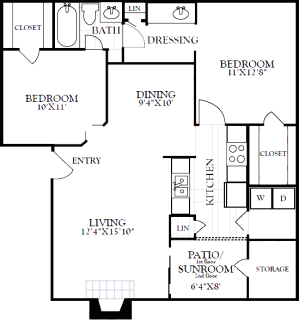 2 Bed / 1 Bath / 887 sq ft / Deposit: from $200 / Rent: $1,100