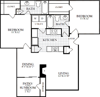 2 Bed / 2 Bath / 976 sq ft / Deposit: from $200 / Starting at $1325