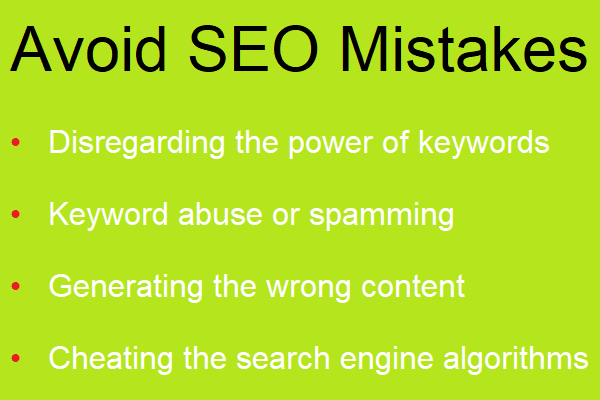 Avoid seo mistakes