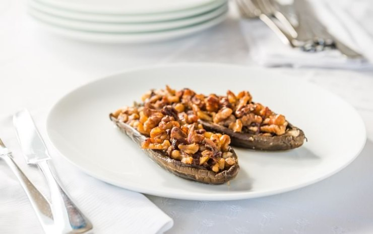 Eggplant stuffed with New Zealand walnuts