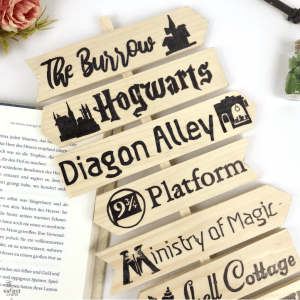 Free template: Harry Potter Signpost with locations #freetemplate #freedownload #harrypotter #mischiefmanaged #diy #signpost