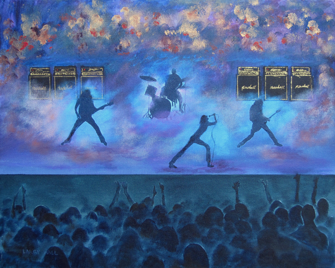 "ROCK CONCERT 16"" X 20"" Acrylic painting by Larry Wall"