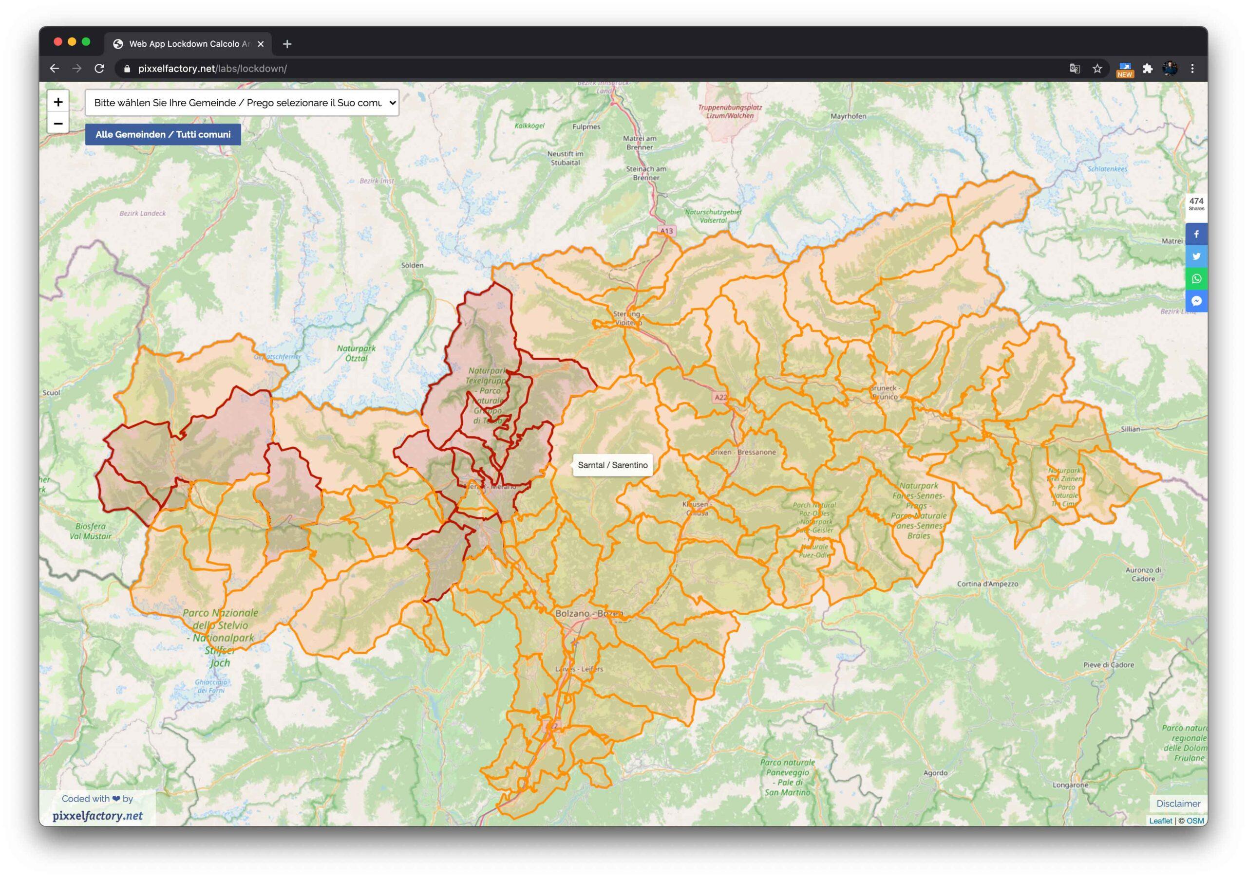 Le zone colorate dei comuni della Provincia di Bolzano