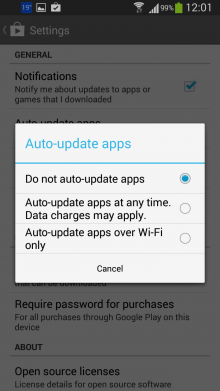 Disable automatic updates.