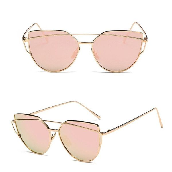 Oversized Female Sunglasses - Mirrored - Rose Gold - Pink Tint
