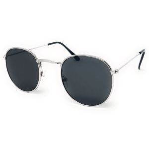Round Retro Sunglasses - Silver Frame - Black Tint
