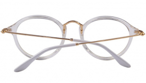 Round Retro Glasses - CLEAR LENS - White