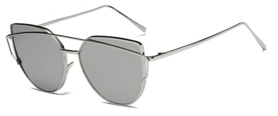 Oversized Female Sunglasses - Mirrored - All Silver
