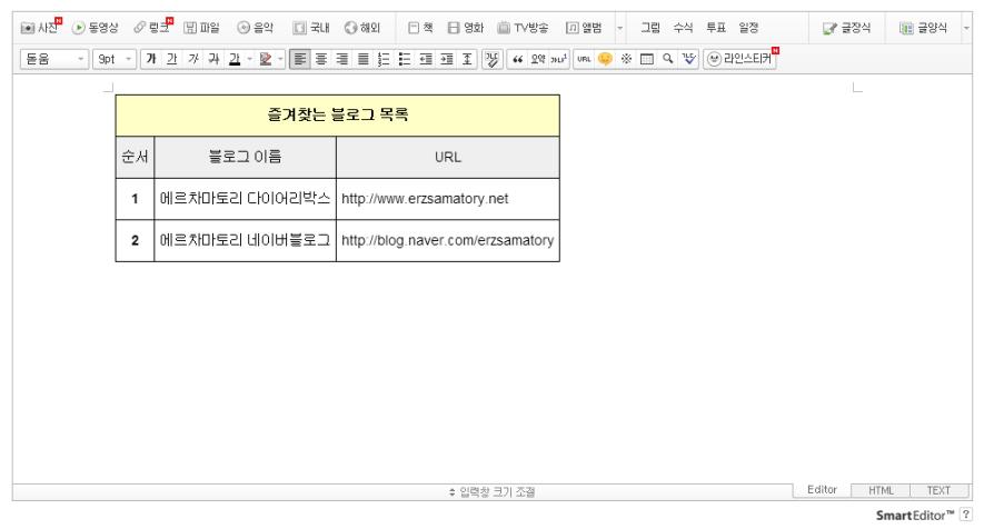 HTML Table Generator에서 만들어진 표는 네이버블로그에서 사용할 수 있습니다.