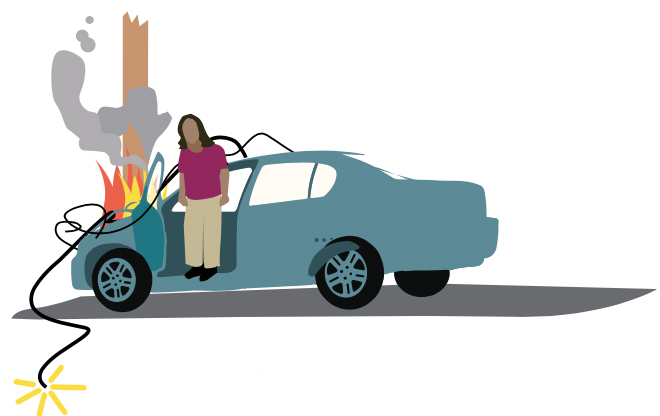 illustration of exiting a car in an electrical emergency