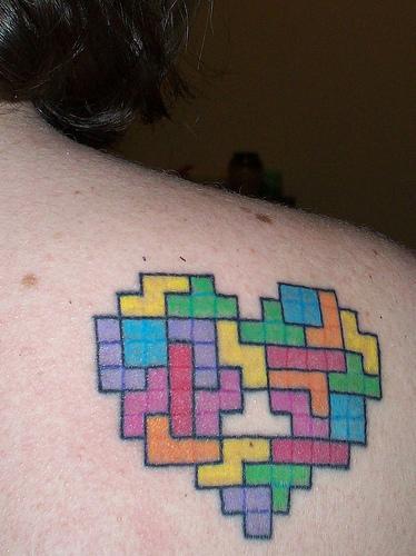Tags: cool tattoo, cool tetris, geek tattoos, geeky tattoos, i love tetris,