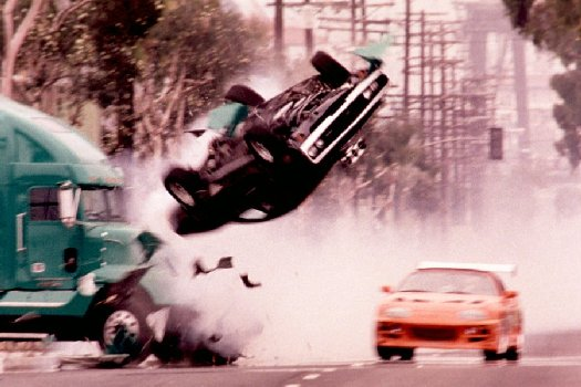 Movie car crash scene.