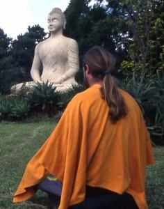 Meditating in the Buddhist Retreat Center garden.
