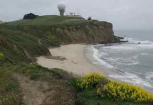 The beach trail ends at Mavericks.