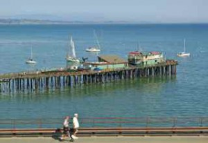 The Capitola wharf on a Sunday.