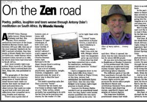 An article on Antony Osler and Zen Dust by Wanda Hennig, from the Sunday Tribune, South Africa, April 2013.