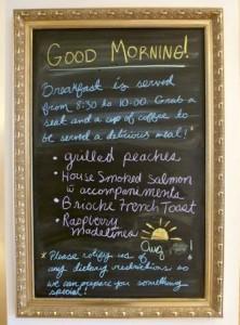 Breakfast menu at Seal Cover Inn.