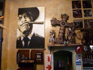 Detail above the main bar in The Chairman jazz bar in Durban.
