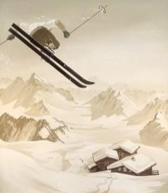 Skifahrer im Treppenhaus