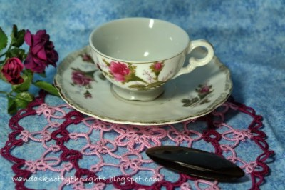 Wanda's Knotty Thoughts tatted teacup doily