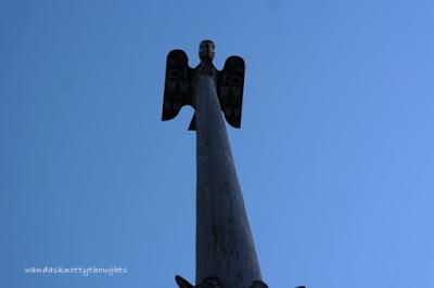 Top of totem pole in Ketchikan, Alaska wandasknottythoughts.com