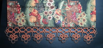 Kamryn Edging, tatted edging on table runner with fall material on wandasknottythoughts