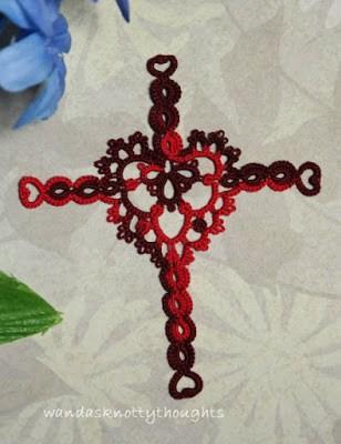 Joy's Heart Cross Bookmark for Valentine's Day wandasknottythoughts