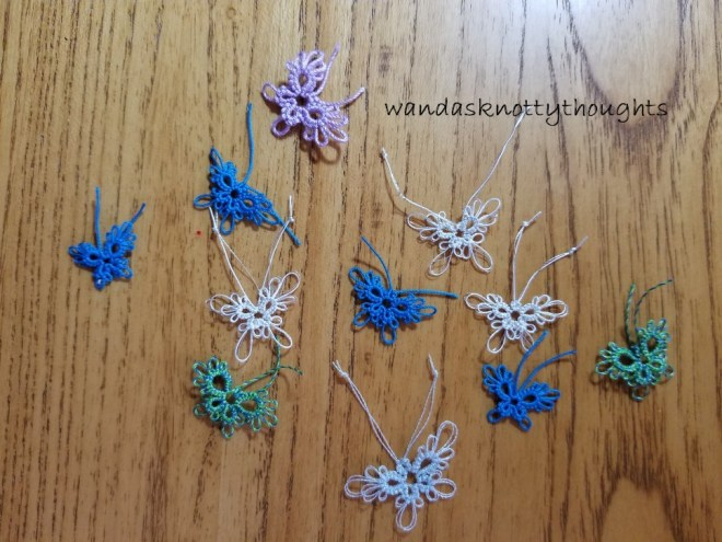 Tatted butterflies for Tat Days on wandasknottythoughts 'Bits and Butterflies'