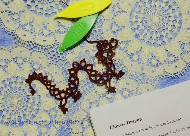 Chinese Dragon by Martha Ess in progress on wandasknottythoughts