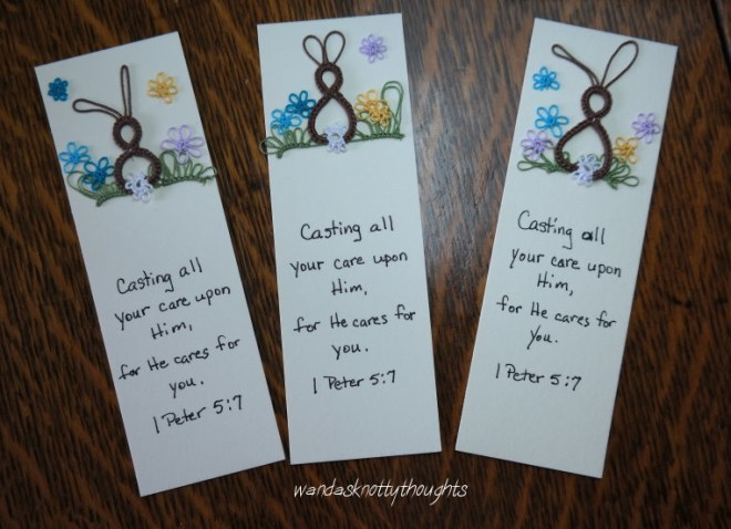 3 tatted bunny bookmarks with inspirational message on wandasknottythoughts