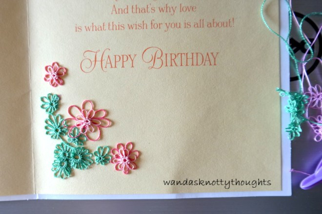 Tatted flowers on birthday card on wandasknottythoughts
