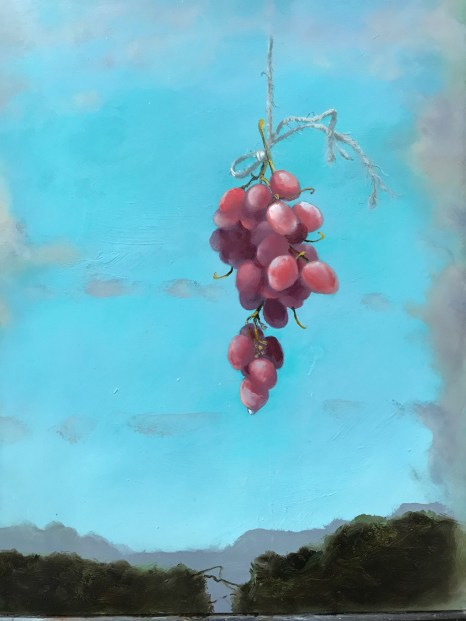 Grapes Hanging (14x11 oil on panel)
