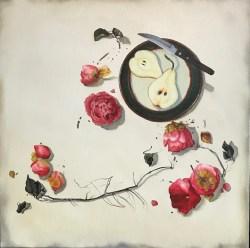 Camellias (20x20 oil on canvas)