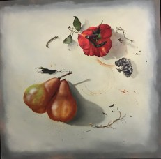 Rose Upended (Oil on canvas. 20x20)