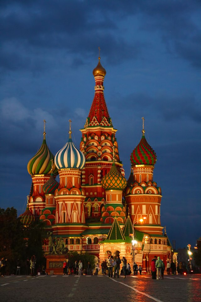 st basil's cathedral moscow in the evening