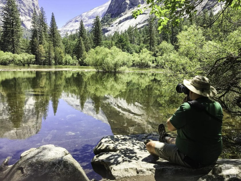 A stop at Mirror Lake is a must on the Yosemite Valley Loop trail.