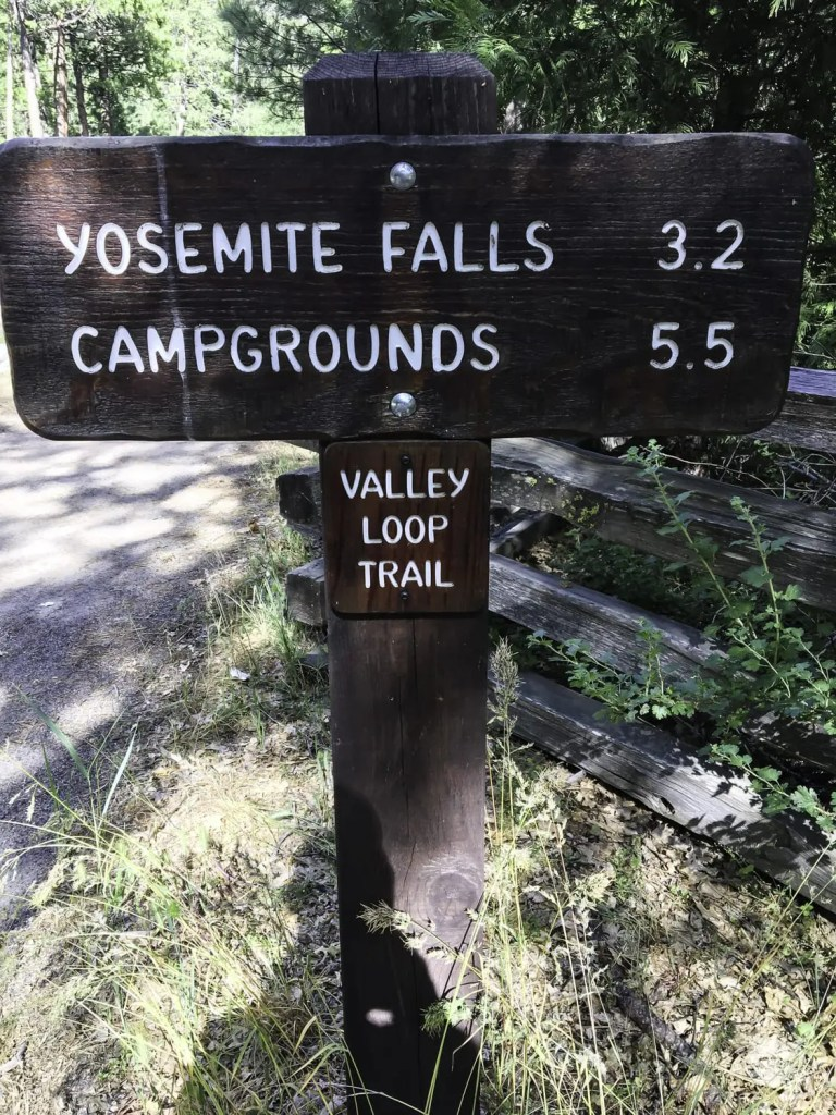 Yosemite Valley Loop Trail signs direct the way...most of the time.