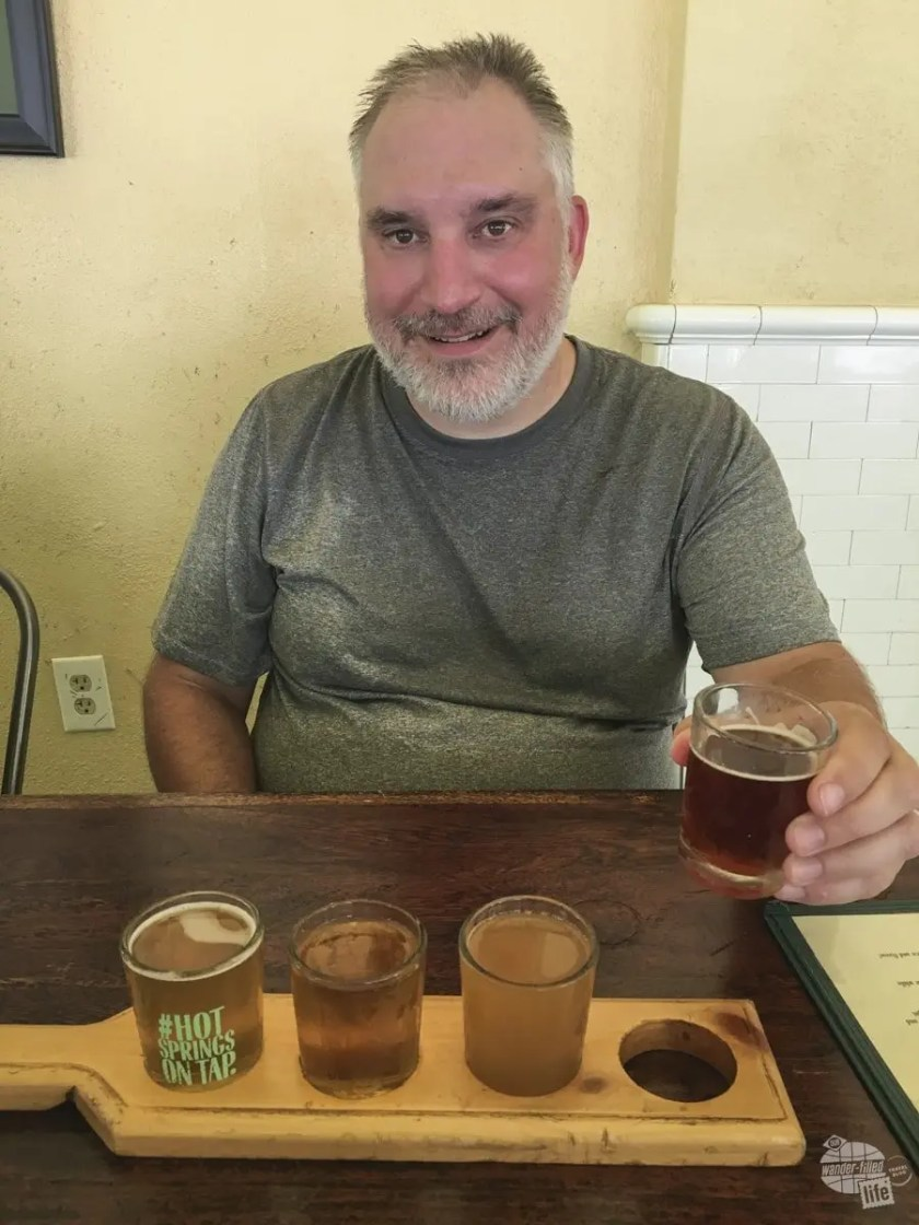 A flight at the brewery in Hot Springs NP.